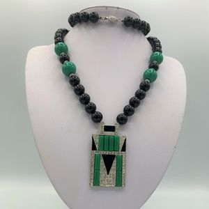 Kenneth J Lane Jade Clip Earrings & Necklace Set
